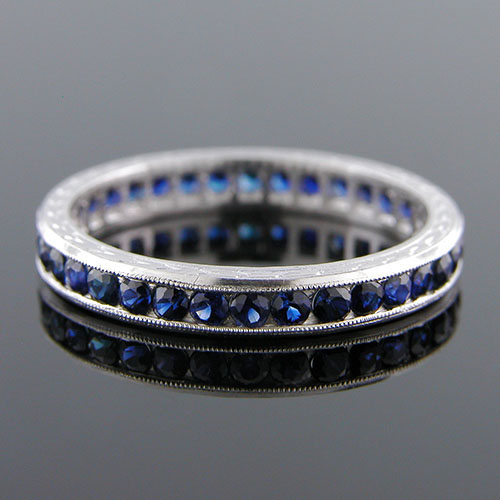 560-401 Antique inspired reproduction round blue sapphire platinum wedding eternity band