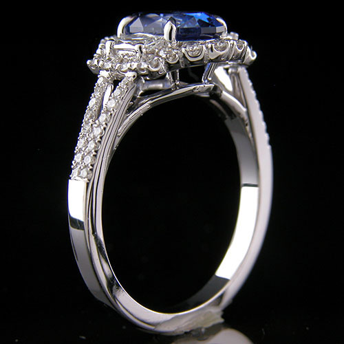 1297-1 Antique inspired tapered baguette diamond and groove set diamond platinum semi mount
