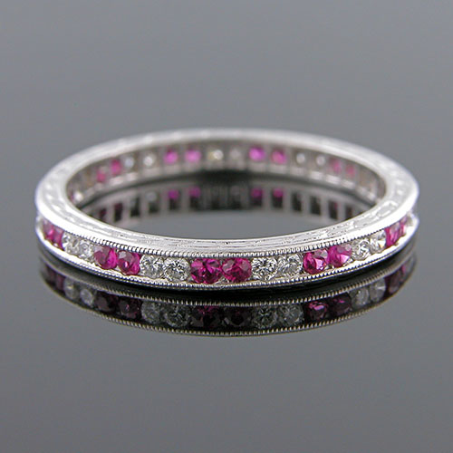 540-344 Antique reproduction 2 by 2 pattern ruby and diamond platinum wedding band with engraving
