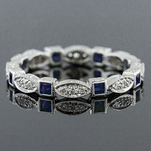 728-420 Antique reproduction French cut sapphire and Micro Pave diamond platinum eternity wedding band