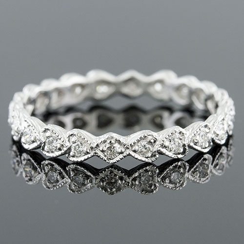 726-101 Antique reproduction Pave set diamond platinum repeating hearts eternity wedding band