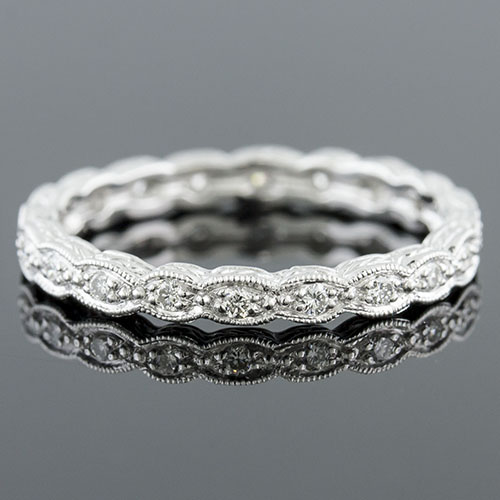 721-101 Antique reproduction Pave set diamond platinum wave eternity wedding band