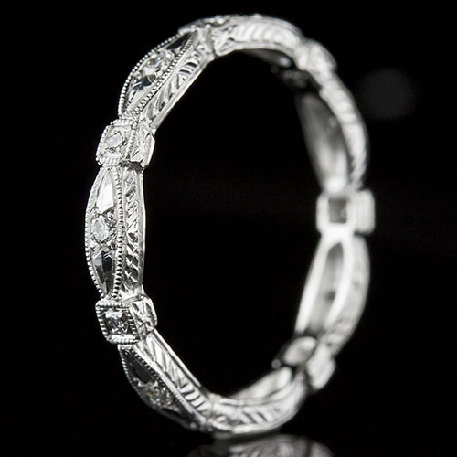 720-101 Antique reproduction Pave set diamond shaped platinum wedding eternity band with engraving