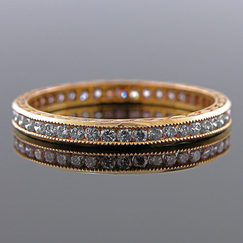 540P-101 Antique reproduction all diamond 18K Pink gold wedding band with engraving