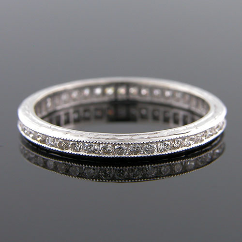 540-101 Antique reproduction all diamond platinum wedding band with engraving - Click Image to Close