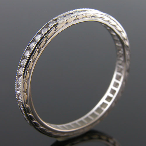 540-101 Antique reproduction all diamond platinum wedding band with engraving