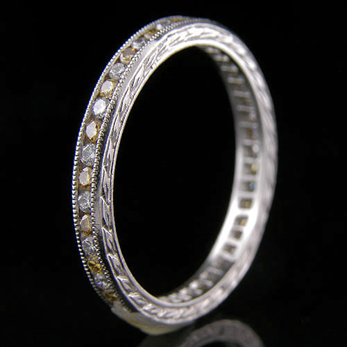 540-142 Antique reproduction alternating natural untreated yellow and white diamond platinum wedding band with engraving