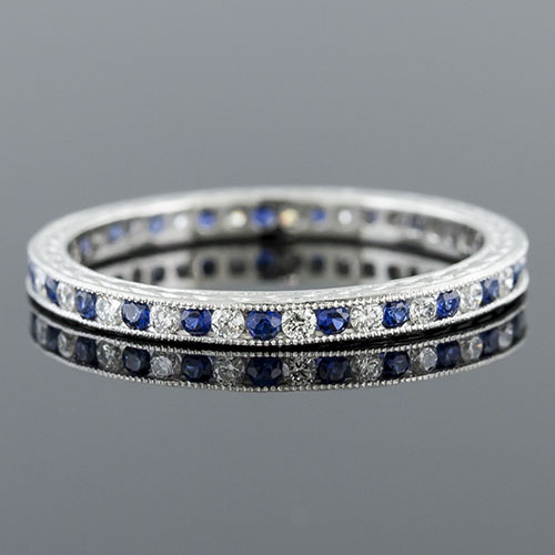535-442 Antique reproduction alternating sapphire and diamond platinum wedding band with engraving - Click Image to Close