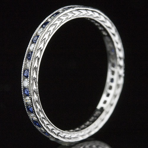 535-442 Antique reproduction alternating sapphire and diamond platinum wedding band with engraving