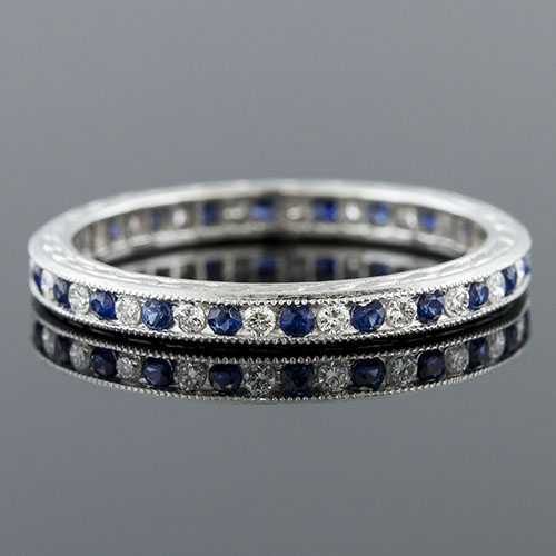 540-442 Antique reproduction alternating sapphire and diamond platinum wedding band with engraving
