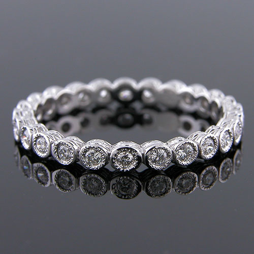 800-101 Antique reproduction bezel set diamond platinum eternity band