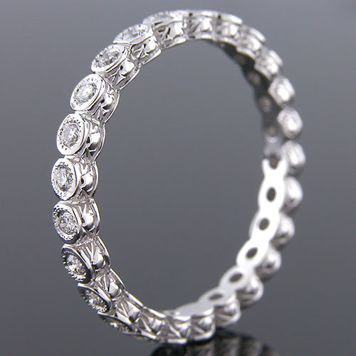 800-101 Antique reproduction bezel set diamond platinum eternity band - Click Image to Close