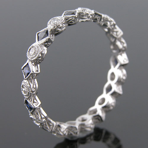 727-420 Antique reproduction fancy French cut sapphire with round diamond platinum wedding band with engraving