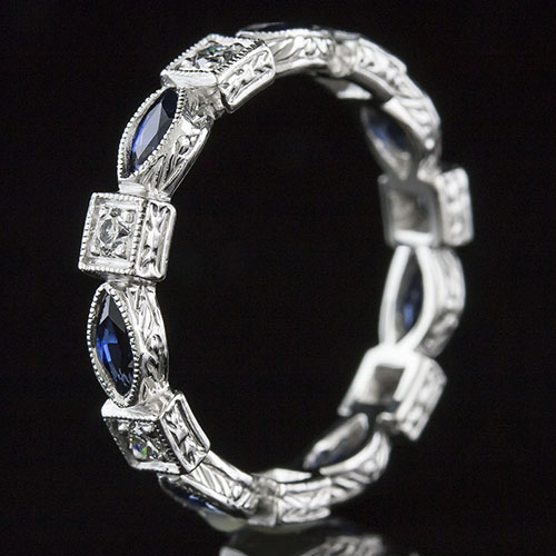 704-420 Antique reproduction fancy marquise sapphire with diamond platinum wedding band with engraving
