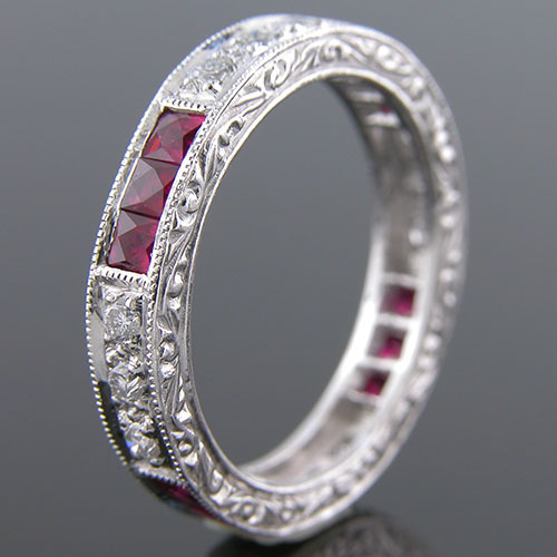 397-320 Antique reproduction grouped French cut ruby and white diamond platinum wedding eternity band