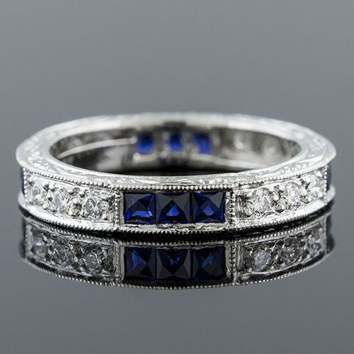 397-420 Antique reproduction grouped French cut sapphire and white diamond platinum wedding eternity band - Click Image to Close
