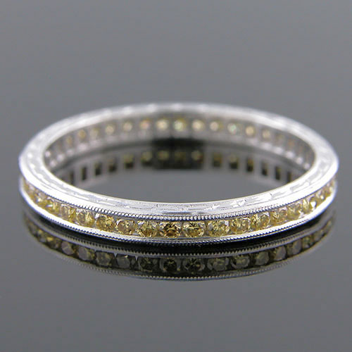 540-140 Antique reproduction natural untreated yellow diamond platinum wedding band with engraving