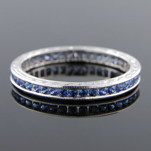 540-401 Antique reproduction round sapphire platinum wedding band with engraving - Click Image to Close
