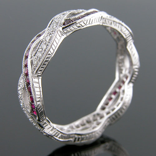 546-320 Antique reproduction sapphire and Pave diamond platinum interwoven wedding eternity band