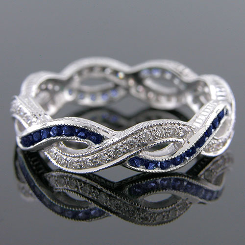 546-420 Antique reproduction sapphire and Pave diamond platinum interwoven wedding eternity band - Click Image to Close