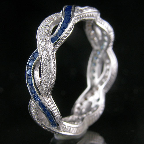 546-420 Antique reproduction sapphire and Pave diamond platinum interwoven wedding eternity band