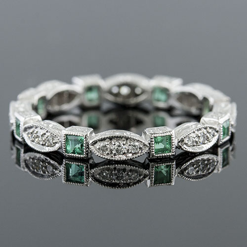 728-220 Antique reproduction square emerald with Micro Pave set diamond platinum eternity band