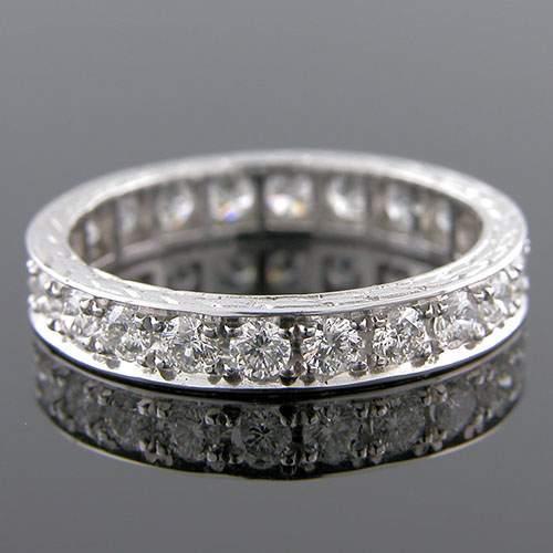 PPD100E-101 Antique style Pave set diamond platinum eternity wedding band