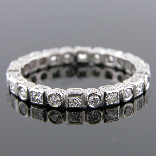 701-103 Antique style fancy square French cut diamond & diamond platinum shaped wedding eternity band