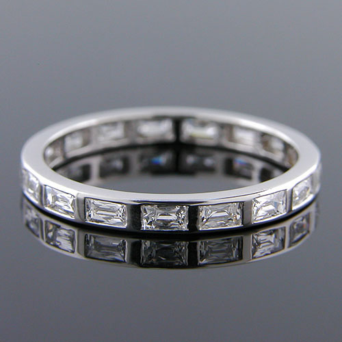 500B-103P Art Deco-inspired French cut diamond platinum wedding eternity band - Click Image to Close