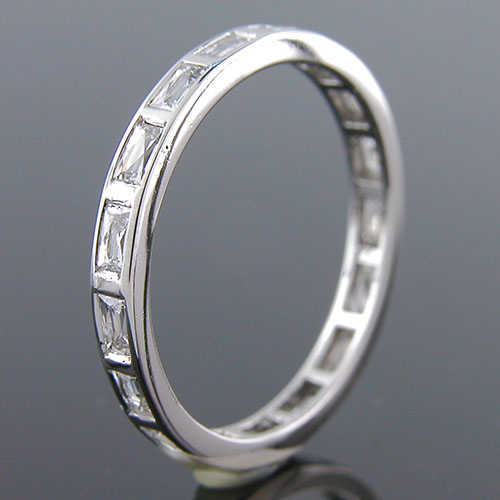 500B-103P Art Deco-inspired French cut diamond platinum wedding eternity band