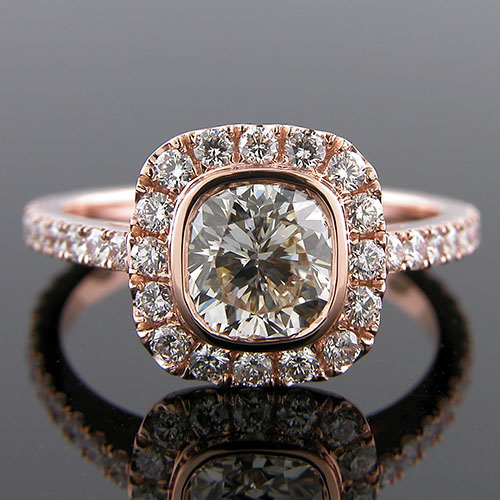 1299-1 Contemporary groove set diamond 18K pink gold Flush-fit semi mount