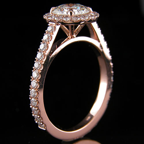 1259PG-1 Contemporary groove set diamond 18K pink gold semi mount