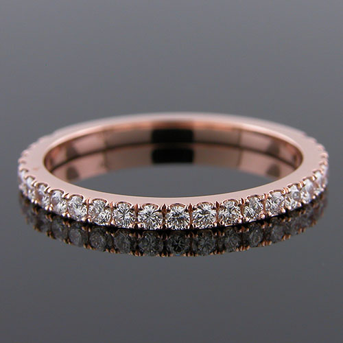 1299WPT-101P Contemporary groove set diamond 18K pink gold three-quarter stone wedding band