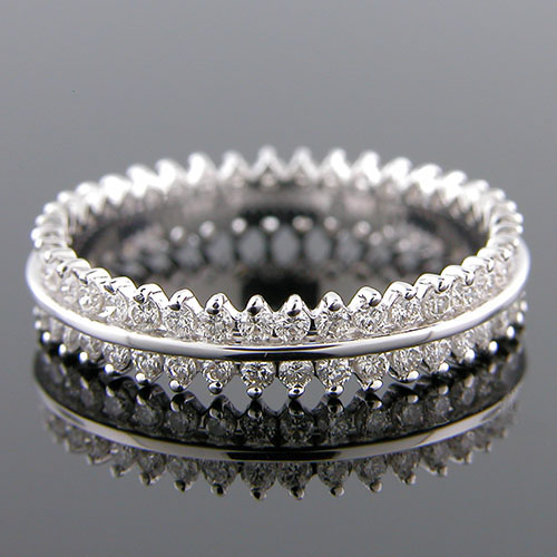 591-101P Double row dual-channel Micro prong set diamond platinum wedding eternity band