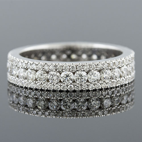 FR0724 White round diamond wide-narrow 3-row 18K gold wedding eternity band