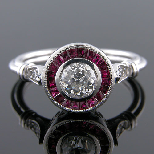 GS101S-3 Art Deco custom French cut halo ruby and Pave set diamond platinum engagement ring semi mount