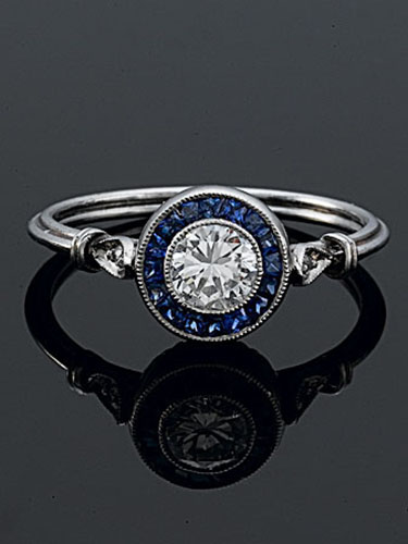 GS101S-4 Art Deco custom French cut halo sapphire and Pave set diamond platinum engagement ring semi mount