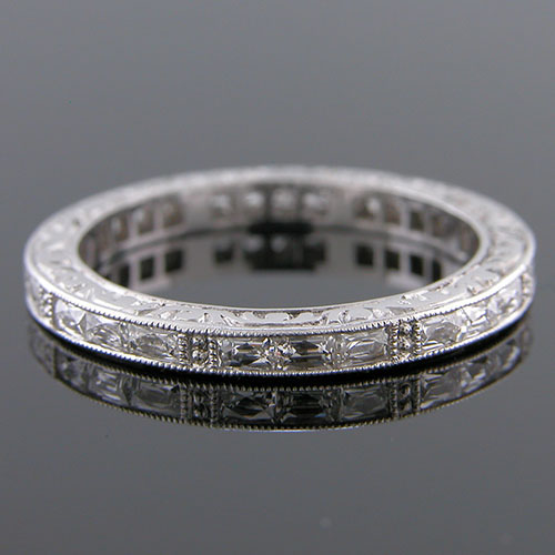 500-103 Grouped French cut diamond Antique reproduction platinum engraved band