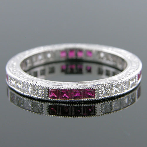 500-340 Grouped Princess cut ruby and Princess cut diamond Antique reproduction platinum engraved band