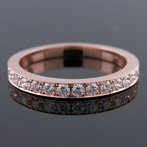 M103PH-101P Pave set diamond 18K Pink gold high polish half-stone tapered wedding band