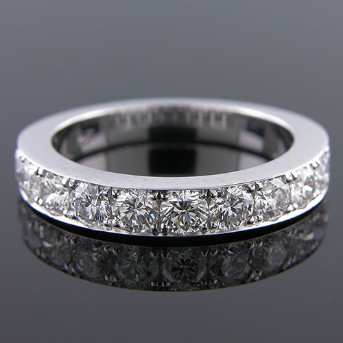 M105H-101P Pave set diamond platinum high polish half-stone tapered wedding band