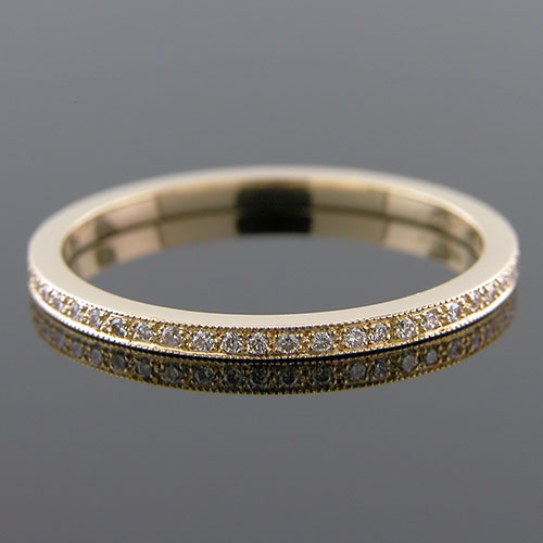 050Y-101P Ultra thin Micro Pave set diamond 18K yellow gold eternity wedding eternity band