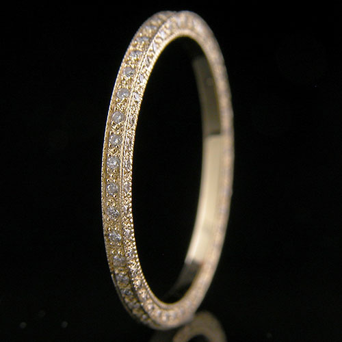054Y-101P Ultra thin Micro Pave set diamond deluxe double-sided 18K yellow gold eternity wedding eternity band
