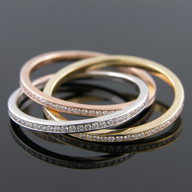 055TRI-1P Microset diamond Tricolor gold Mini Mania Rolling Ring eternity band