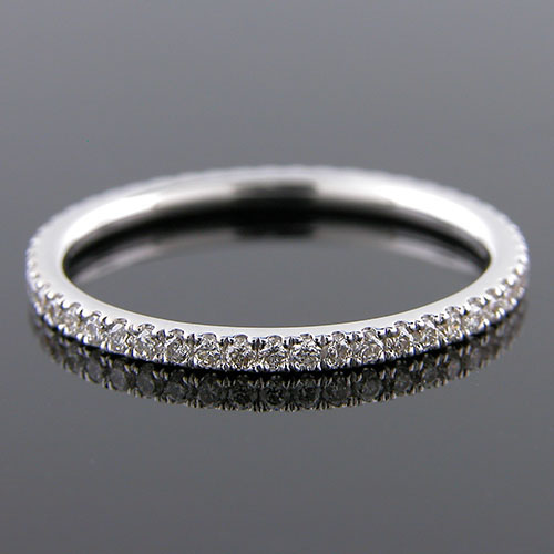 M200-101P Modern micro Groove-set diamond platinum wedding eternity band