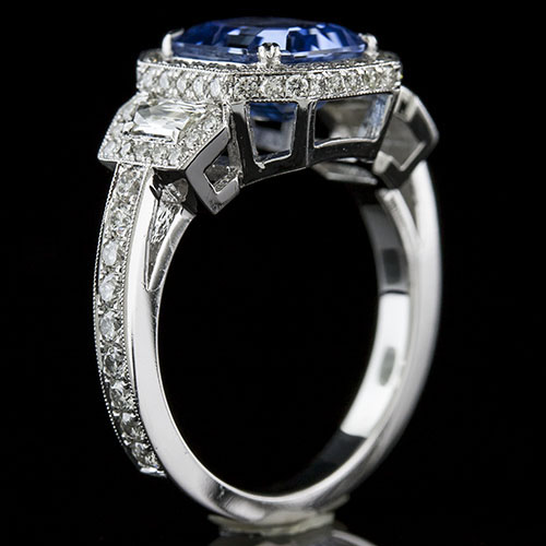PPD94 Natural non-heated blue sapphire, fancy trapezoid diamond & Micro Pave set diamond Art Deco platinum ring
