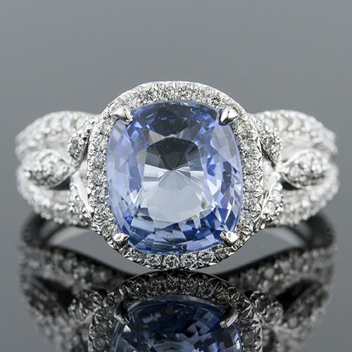 PPD6601 Natural non-heated blue sapphire and Micro Pave cutdown-set diamond Vintage Modern-inspired platinum ring