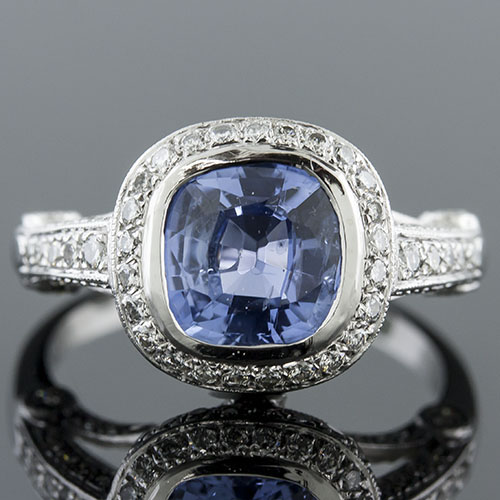 993B27Natural non-heated blue sapphire with Micro Pave set diamond and bezel set diamond Art Deco platinum ring