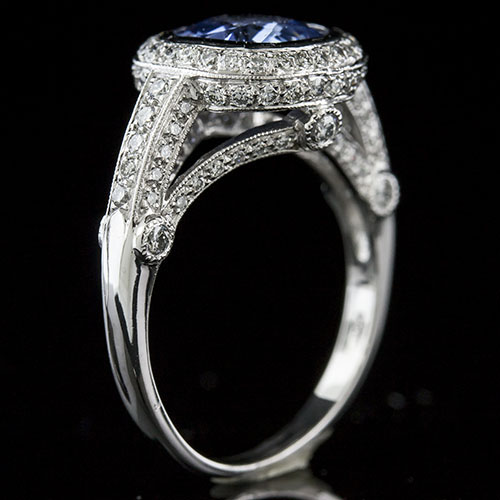 993B27Natural non-heated blue sapphire with Micro Pave set diamond and bezel set diamond Art Deco platinum ring - Click Image to Close