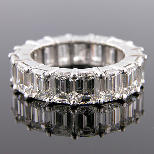 PPD148 Jumbo Emerald cut white diamond platinum wedding eternity band